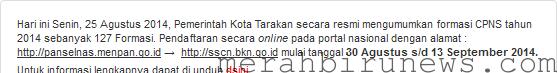 Info CPNS 2014 BKD TARAKAN
