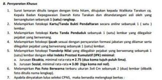 Persyaratan Khusus Pendaftaran CPNS 2014 Kota Tarakan