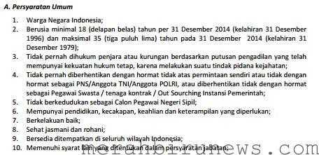 Persyaratan Umum Pendaftaran CPNS 2014 Kota Tarakan