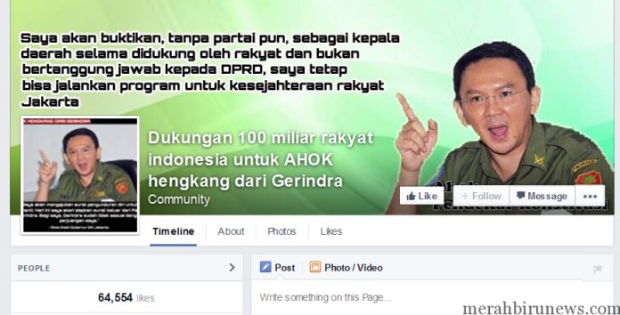 Akun Dukungan 100 milyar rakyat Indonesia untuk Ahok hengkang dari Gerindra (XYD)