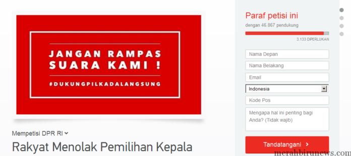 Petisi Rakyat Menolak Pemilihan Kepala Daerah Melalui DPRD Change.org