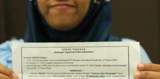 Selembaran dari GOPEK tentang tolak PTLB yang beredar di kalangan masyarakat Tarakan