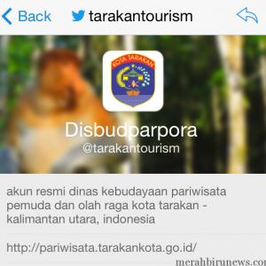 Akun resmi twitter disbudparpora tarakan, @tarakantourism