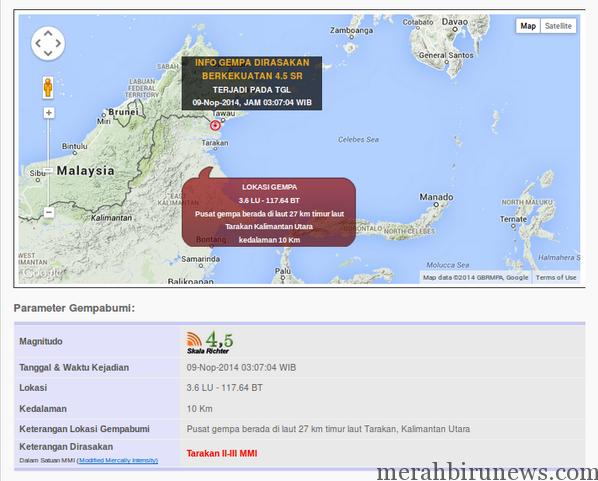 Info Gempa Bumi Tarakan_9 November 2014 @Infobencana