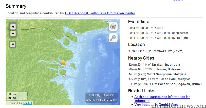 Info Gempa Bumi Tarakan 9 November 2014 Earthquake USGS