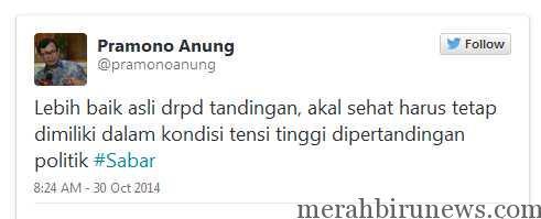Twit Pramonoanung Terkait DPR Tandingan (twitter @pramonoanung)