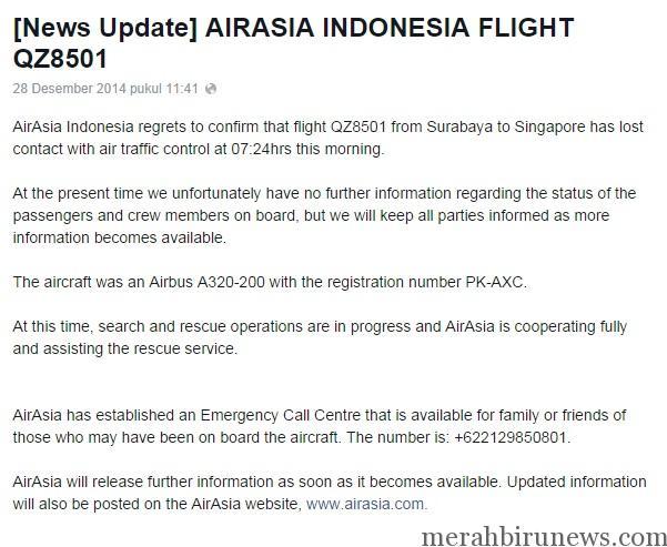 Konfirmasi Hilang Kontak Pesawat Air Asia melalui Fanspage Facebook Air Asia