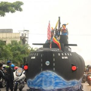Salah satu peserta yang memamerkan hasil karyanya dalam acara parade Tarakan Maritime festival 2014 (HFA)