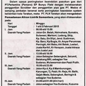 Pengumuman Tentang Pemadaman Aliran Listrik di Tarakan (PLN Untuk MBNews)