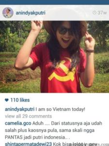 Foto Anindya Kusuma Putri Indonesia 2015 Pakai Lambang Palu Arit