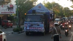 Sosialisasi operasi simpatik, satlantas gunakan truk (haryanto ho for mbnews)