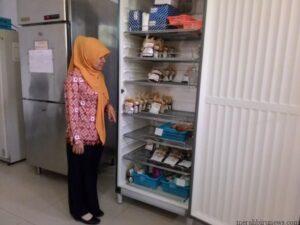 Salah Satu Staf Unit Donor Darah PMI Tarakan Tengah Melihatkan Ketersediaan Stock Kantong Darah (nur)