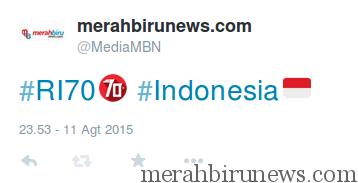 Kami mencoba tuit dengan hashtag #70 #Indonesia