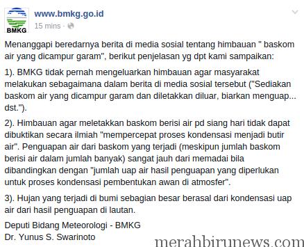 Himbauan BMKG Terkait Pesan Broadcast Pancing Air Hujan Dengan Baskom Berisi Air Garam