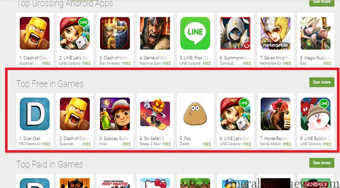 Game Duel Otak Jadi Top Free Game Di Google Play