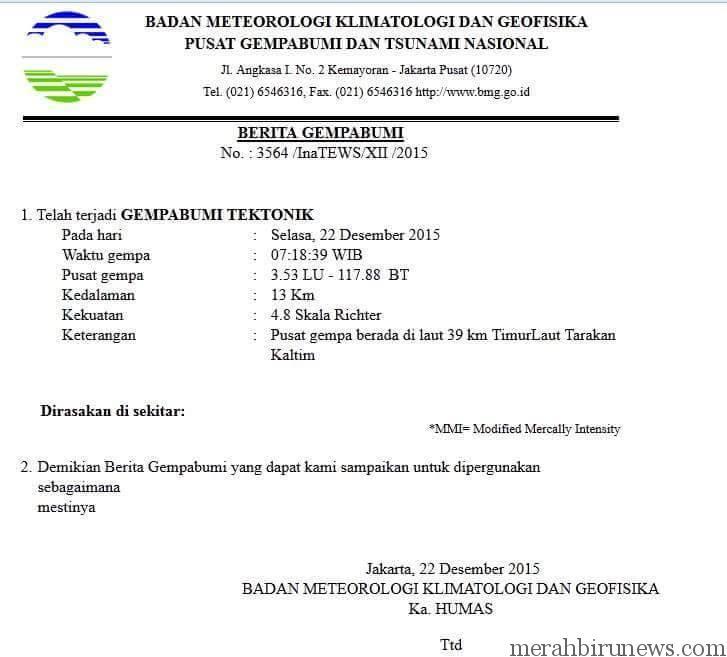Info Gempa Susulan Gempa Tarakan Kaltara 22 Desember 2015 4,8 SR