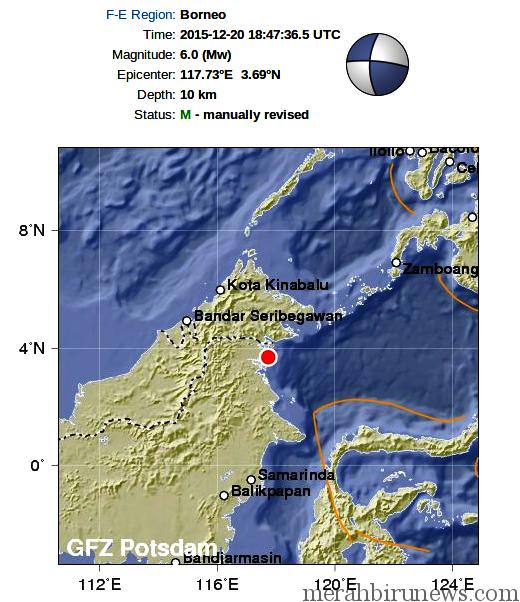 Info Gempa Tarakan Kaltara 21 Desember 2015 6,1 SR