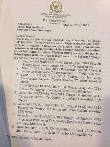 katebelece atau surat pengantar dari pejabat kepada PT Pertamina yang dianggap palsu