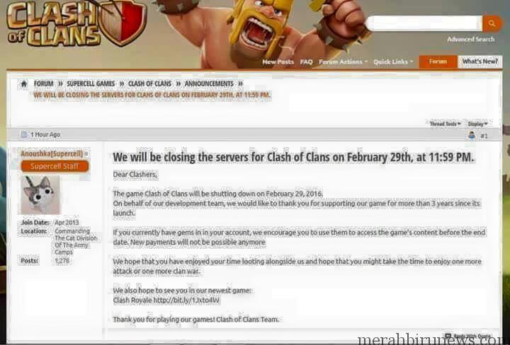 Fakta Hoax COC Akan Ditutup Servernya 29 Februari 2016
