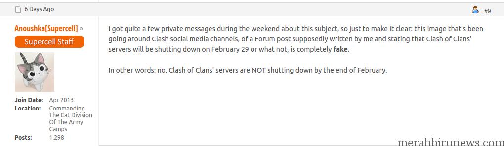 Konfirmasi Berita Hoax Penutupan Server Game Clash of Clans COC 29 Februari 2016