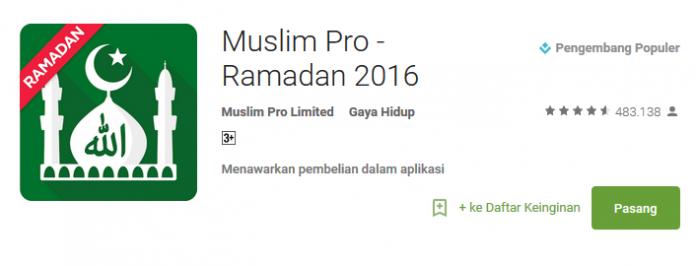 Muslimpro - Aplikasi Android Spesial Ramadhan