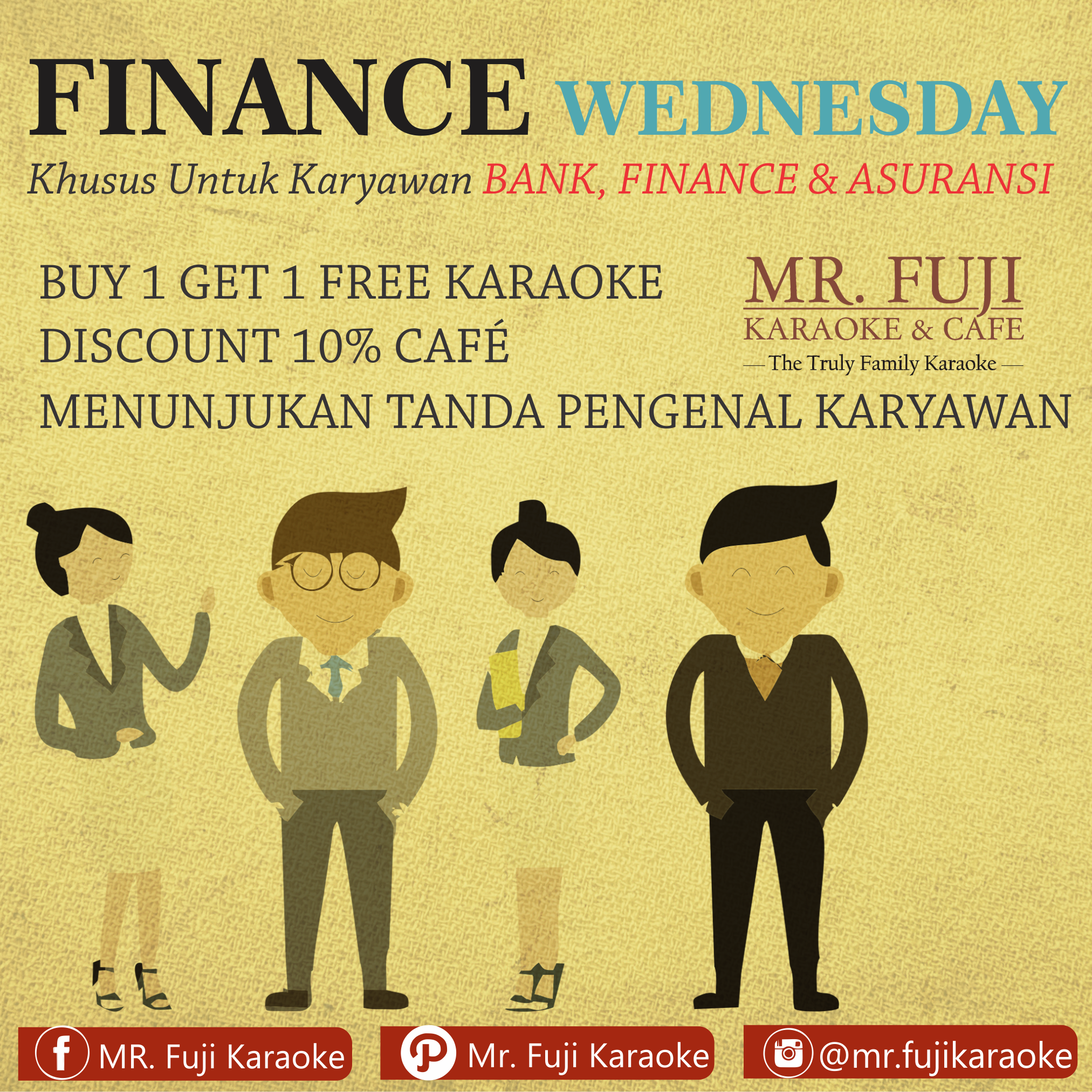 Promo Tempat Karaoke Keluarga MR Fuji Karaoke n Cafe Financial Wednesday Rabu