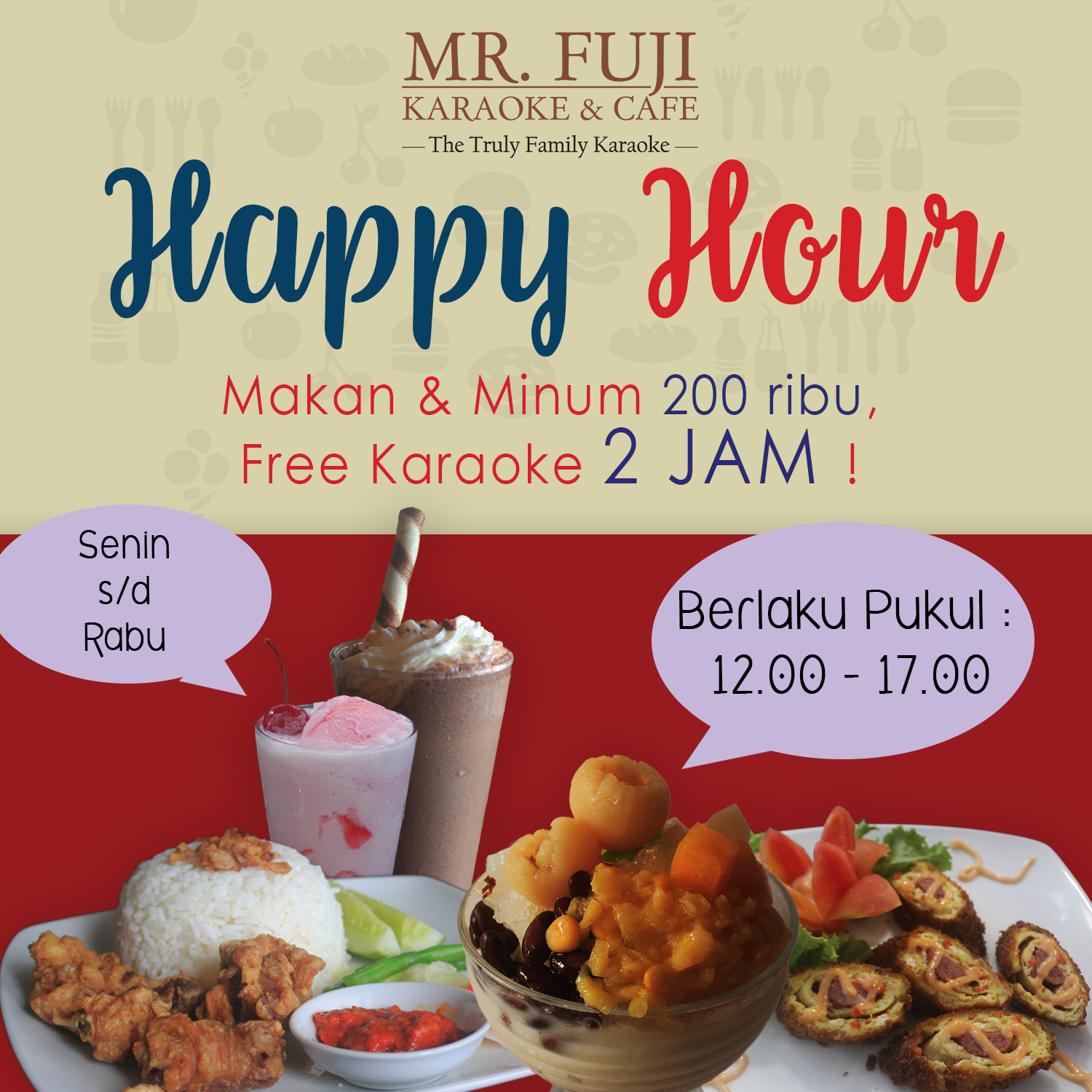 Promo Tempat Karaoke Keluarga MR Fuji Karaoke n Cafe Happy Hours